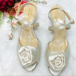 KATE SPADE Ivory Satin Rose Kitten Heels  Peep Toe